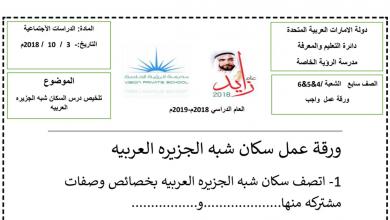 Photo of ورقة عمل سكان شبه الجزيرة العربية دراسات اجتماعية صف سابع فصل أول