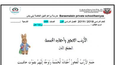 Photo of ورق عمل لغة عربية صف ثالث فصل أول