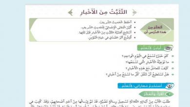 Photo of درس التثبت من الأخبار تربية إسلامية صف رابع فصل أول