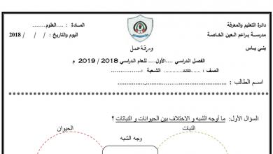 Photo of أوراق عمل علوم صف ثالث فصل أول