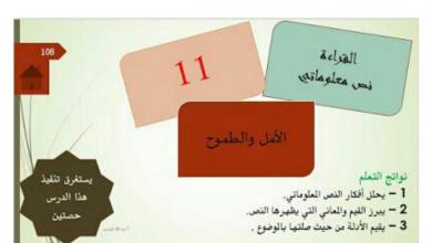 Photo of حل درس الأمل والطموح لغة عربية فصل أول صف عاشر