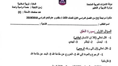 Photo of مذكرة مراجعة الوحدة الأولى تربية إسلامية صف ثالث فصل أول