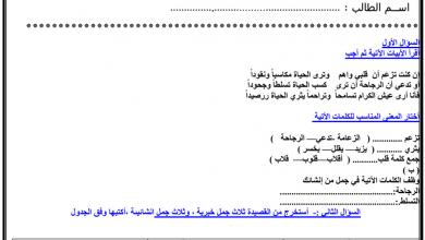 Photo of أوراق عمل متنوعة (دعني أحبك-التشبيه-آيات من القرآن-الهمزة المتطرفة) لغة عربية صف سادس فصل أول