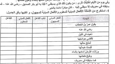 Photo of ورقة عمل المبني للمجهول لغة عربية الصف السابع الفصل الاول