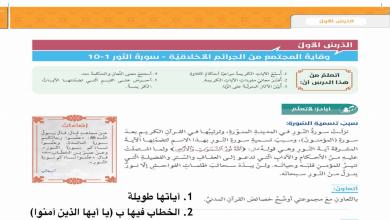 Photo of حل كل دروس الكتاب تربية إسلامية صف سادس فصل أول