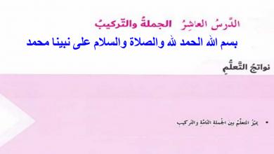 Photo of درس الجملة والتركيب لغة عربية صف سادس فصل أول