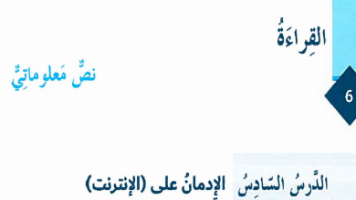 Photo of حل درس الإدمان على الإنترنت لغة عربية فصل أول صف ثامن