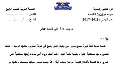 Photo of تدريبات عامة على الوحدة الاولى في اللغة العربية الصف الرابع الفصل الاول
