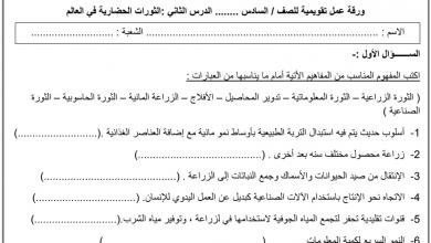 Photo of أسئلة وتدريبات على درس الثورات الحضارية دراسات اجتماعية صف سادس فصل أول