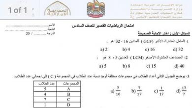 Photo of نموذج اختبار رياضيات قصير مع الحل للصف السادس فصل أول