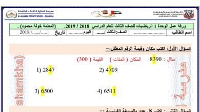 Photo of أوراق عمل الوحدة الاولى رياضيات الصف الثالث الفصل الاول