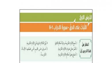 Photo of حل دروس التربية الإسلامية صف حادي عشر فصل أول