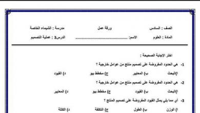 Photo of اوراق عمل تصميم من إعداد الأستاذ محمود الششنيه صف سادس فصل أول