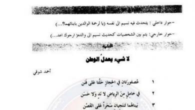 Photo of شرح وأفكار نشيد لا شيء يعدل الوطن لمادة اللغة العربية الصف السابع الفصل الاول