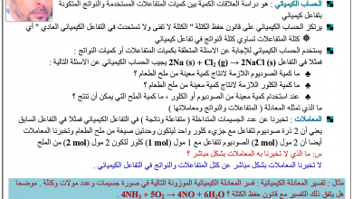 Photo of ملخص الحسابات الكيميائية كيمياء للصف الحادي عشر عام ومتقدم فصل أول