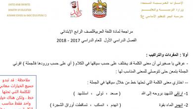 Photo of مراجعة لغة عربية للصف الرابع الفصل الأول