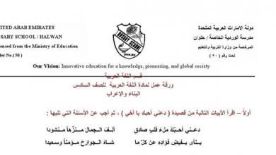 Photo of ورقة عمل لمادة اللغة العربية البناء والاعراب للصف السادس الفصل الاول