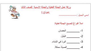 Photo of الجملة الاسمية والفعلية نموذج  1لغة عربية صف ثالث فصل أول
