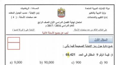 Photo of الامتحان الوزاري لمادة الرياضيات نهاية الفصل الأول صف رابع 2016