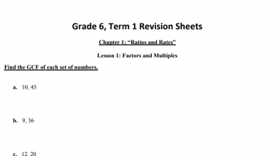 Photo of أوراق مراجعة رياضيات منهج إنجليزي صف سادس فصل أول