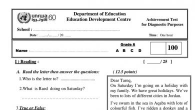 Photo of الاختبار التشخيصي لمادة اللغة الإنجليزية صف سادس فصل أول