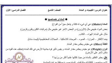 Photo of تلخيص درس الكيمياء والمادة علوم صف تاسع فصل أول
