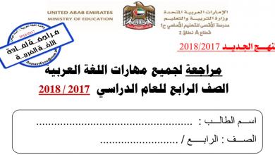 Photo of مذكرة مهارات اللغة  العربية للصف الرابع فصل أول