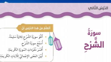 Photo of حلول درس سورة الشرح تربية اسلامية الصف الثاني الفصل الاول