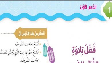 Photo of فضل تلاوة القرآن الكريم تربية اسلامية صف ثاني فصل أول