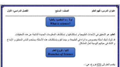 Photo of تلخيص الدرس الأول فهم العلم علوم صف سابع فصل أول