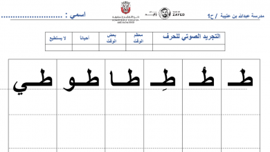 Photo of ورقة تدريبات حرف الطاء للصف الأول