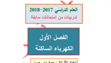 Photo of تدريبات وحدة الكهرباء الساكنة فصل اول صف ثاني عشر