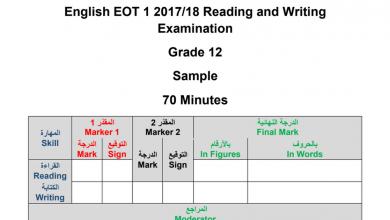 Photo of نموذج امتحان قراءة وكتابة لغة انجليزية فصل أول صف ثاني عشر