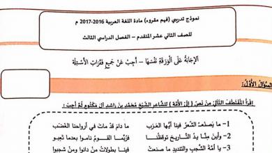 Photo of نموذج امتحان (فهم المقروء) لغة عربية فصل ثالث 2017 صف ثاني عشر متقدم