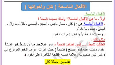 Photo of الأفعال الناسخة (كان واخواتها) لغة عربية فصل أول صف ثاني عشر