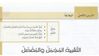 Photo of التشبيه المجمل والمفصل لغة عربية فصل أول صف ثامن