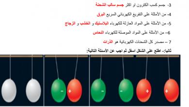 Photo of مراجعة درس الشحنات الكهربائية والقوى الكهربائية مع الإجابات علوم صف ثامن
