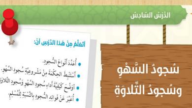 Photo of حل درس سجود السهو والتلاوة تربية إسلامية صف سادس