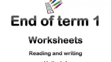 Photo of ورقة عمل نهاية الفصل الأول الوحدات من 1-4 لغة إنجليزية صف خامس