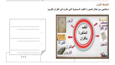 Photo of ورقة عمل درس الكتب السماوية تربية اسلامية فصل أول صف رابع