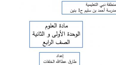 Photo of تلخيص الوحدة الأولى والثانية علوم فصل أول صف رابع