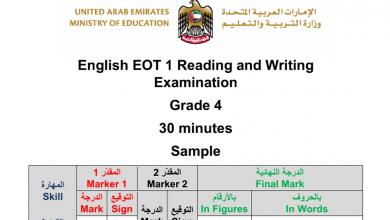 Photo of نموذج اختبار كتابة وقراءة لغة انجليزية فصل أول صف رابع