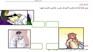 Photo of اوراق عمل بر الوالدين تربية إسلامية فصل أول صف رابع