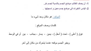 Photo of تدريبات على الموضع والحركة علوم فصل ثالث صف ثاني