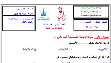 Photo of مراجعة عامة علوم فصل ثالث صف ثالث