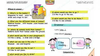 Photo of مراجعة لغة انجليزية للفصول الثلاثة صف ثالث