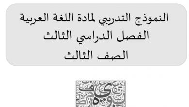 Photo of النموذج التدريبي في مادة اللغة العربية الفصل الثالث الصف الثالث