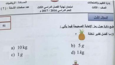 Photo of امتحان نهاية الفصل الثالث 2017 رياضيات صف ثالث
