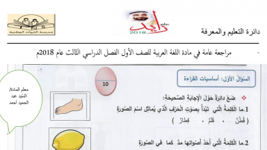Photo of نموذج امتحان اللغة العربية للصف الأول