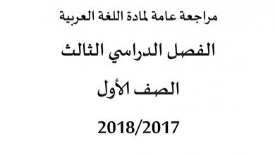 Photo of مراجعة عامة لمادة اللغة العربية للصف الأول الفصل الثالث